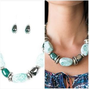 IN GOOD GLAZES BLUE NECKLACE/EARRING SET